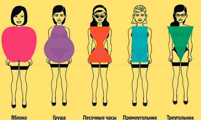 Схематическое изображение типов фигур у девушки